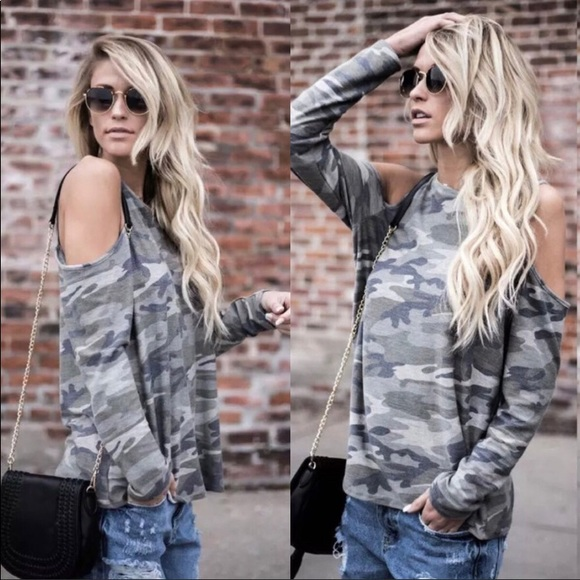 f72e1c7cd01513 Blue   Grey camo Cold Shoulder Long Sleeve T-shirt